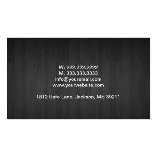 Dark Wood Financial Advisor Business Card (back side)