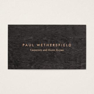 Dark Wood Grain Rustic Carpenter Carpentry Business Card