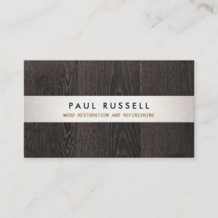 dark wood grain rustic carpentry and flooring business card - Flooring Business Cards