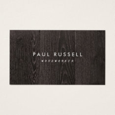 Dark Wood Grain Rustic Carpentry Business Card at Zazzle
