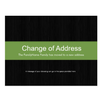 Dark Wood & Green Change of Address Postcard