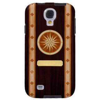 Dark Wood Inlay Compass & Name Plate Phone Case