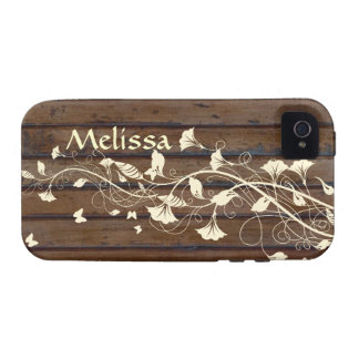 Dark Wood Look, Cream Floral Personalized iPhone 4/4S Case