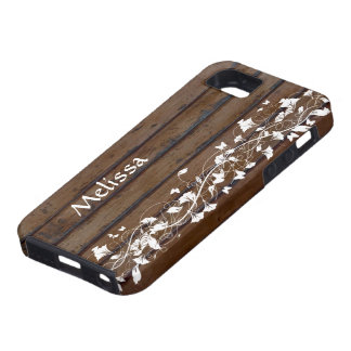 Dark Wood Look, White Floral Personalized iPhone 5 Case