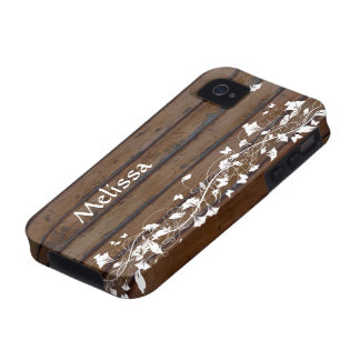 Dark Wood Look, White Floral Personalized Case-Mate iPhone 4 Cover