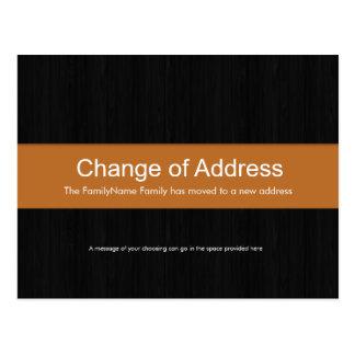 Dark Wood & Orange Change of Address Postcard