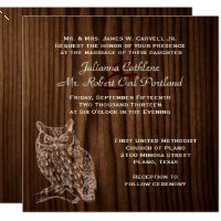 Dark Wood Owl Wild Life Wedding Invitation