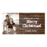 Dark Wood Photo Christmas Card Photo Card