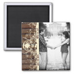 Dark Wood Photo Save the Date Magnet