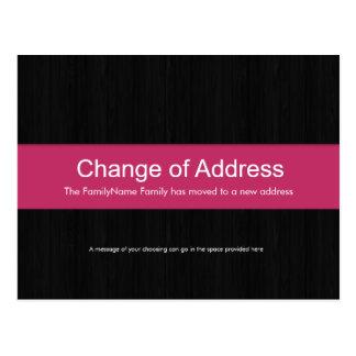 Dark Wood & Pink Change of Address Postcard