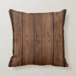 Dark Wood Planks Throw Pillow