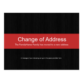 Dark Wood & Red Change of Address Postcard