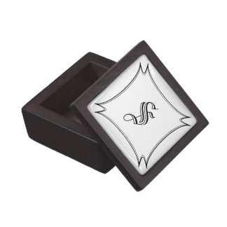 Dark Wood Ring Box with Custom Calligraphy Initial