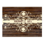 Dark Wood Shabby Lace Save the Date Postcard