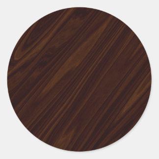 Dark Wood Texture Classic Round Sticker