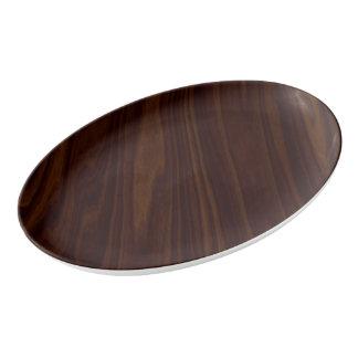 Dark Wood Texture Porcelain Serving Platter
