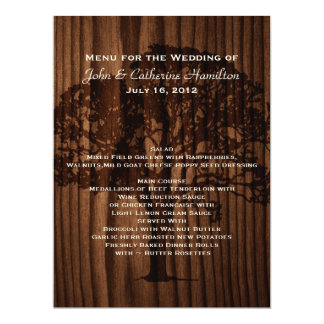 Dark Wood Tree Country Wedding Table Menu Card