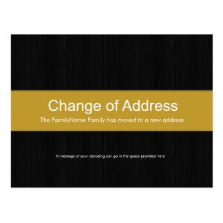 Dark Wood & Yellow Change of Address Postcard