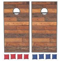 Dark Wooden Panel. Cornhole Set