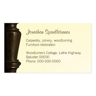 Dark wooden spindle close-up business card