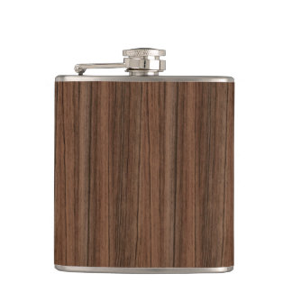 Dark Wooden Texture Hip Flask