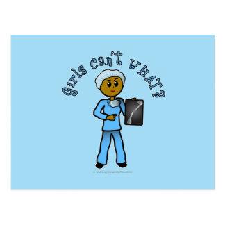 Dark X-ray Technologist Girl Postcard