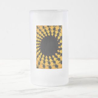 Dark Yellow Fractal Frosted Glass Beer Mug