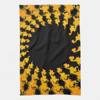 Dark Yellow Fractal Hand Towel
