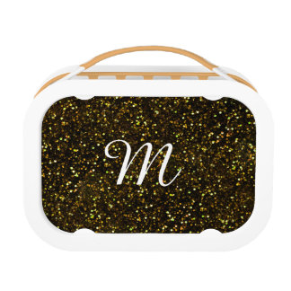 Dark Yellow Gold Glitter Lunch Box
