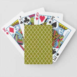Dark Yellow Green & White Moroccan Trellis Pattern Playing Cards