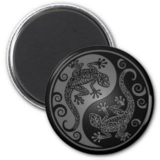 Dark Yin Yang Geckos 2 Inch Round Magnet