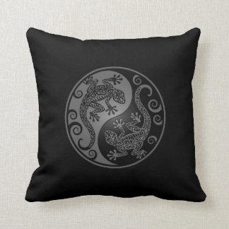 Dark Yin Yang Geckos Throw Pillows