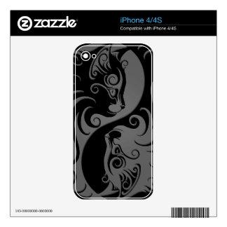 Dark Yin Yang Kittens iPhone 4 Skins