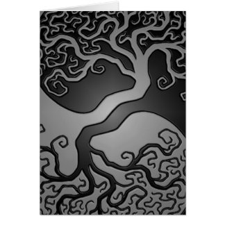 Dark Yin Yang Tree Card