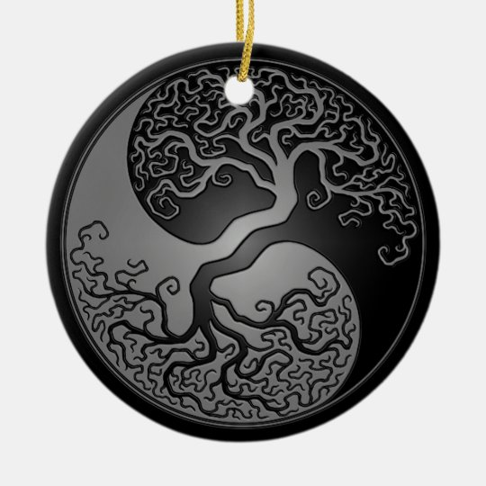 Dark Yin Yang Tree Ceramic Ornament