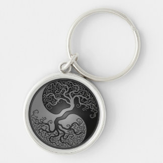 Dark Yin Yang Tree Keychain
