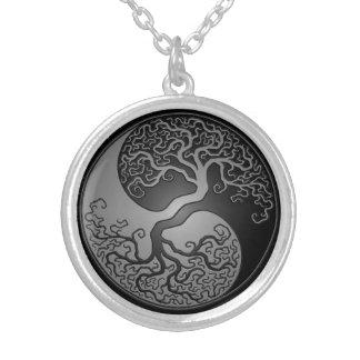 Dark Yin Yang Tree Round Pendant Necklace
