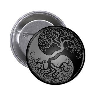 Dark Yin Yang Tree Pinback Button