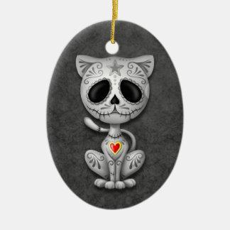 Dark Zombie Sugar Kitten Ceramic Ornament