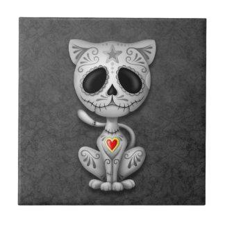 Dark Zombie Sugar Kitten Ceramic Tile