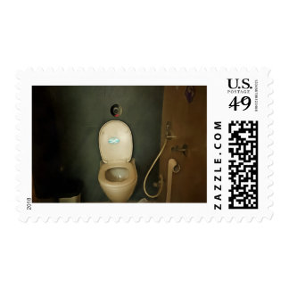 Darkened view of a commode stamps