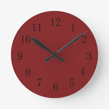 Darker Chocolatey Falu Red Kitchen Wall Clock by Red_Clocks at Zazzle