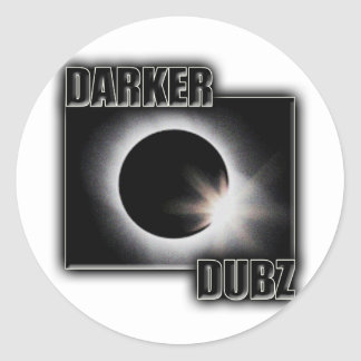 DARKER DUBZ black an White Dubstep Dub Round Stickers