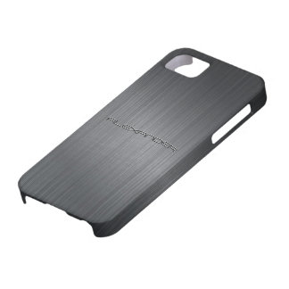 Darker Gray Brushed Aluminum Metal Look-Monogram iPhone SE/5/5s Case