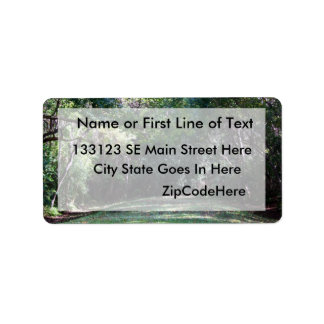 Darker green woods with grass path middle personalized address labels