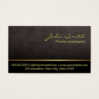 Darker Leather Investigator Business Card
