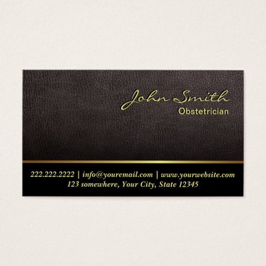 Darker Leather Obstetrician Business Card