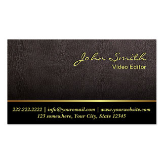 Darker Leather Video Editor Business Card