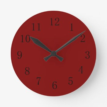 Darker Maroon Red Kitchen Wall Clock by Red_Clocks at Zazzle