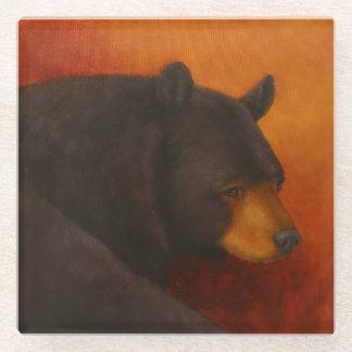 Darkly Dreaming Black Bear Glass Coasters